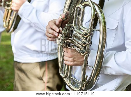 Military Brass Band Musicians With Tuba
