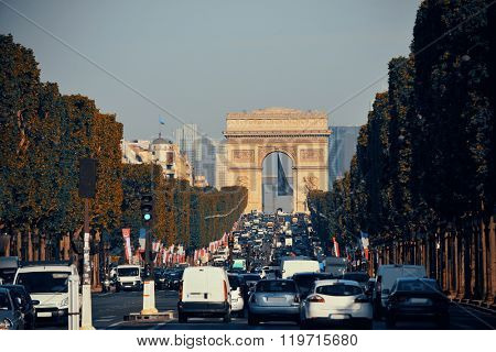 Arc de Triomphe and street view in Paris.