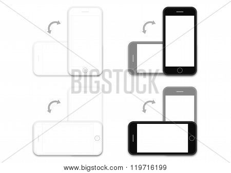 Phone Black And White Os Rotation Layout Template
