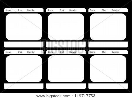 Traditional Television 6 Frame Storyboard Black