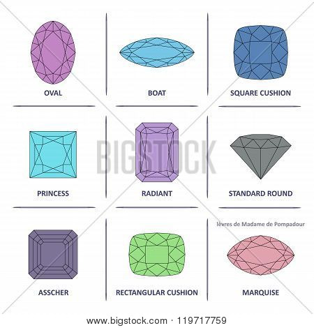 Low Poly Popular Colored Outline Gems Cuts Infographics
