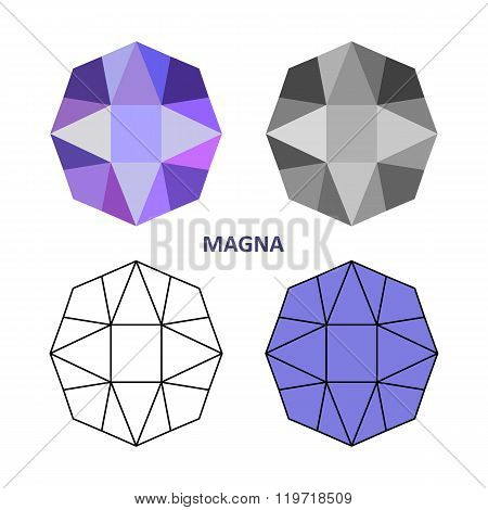 Low Poly Colored & Black Outline Template Magna Gem Cut