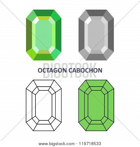 Low Poly Colored & Black Outline Template Octagon Cabochon Gem Cut