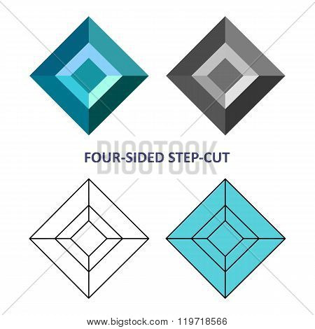 Low Poly Colored & Black Outline Template Four-sided Step-cut Gem Cut