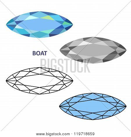 Low Poly Colored & Black Outline Template Boat Gem Cut