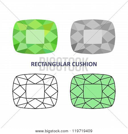 Low Poly Colored & Black Outline Template Rectangular Cushion Gem Cut