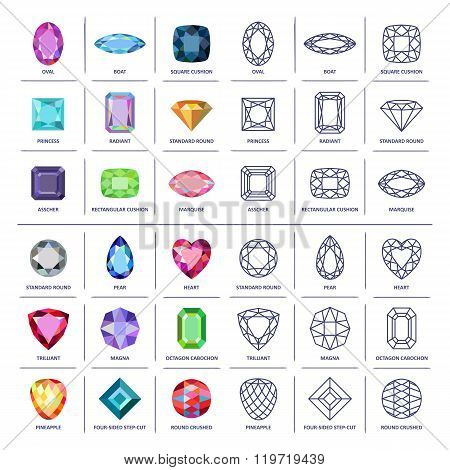 Low Poly Popular Colored & Blueprint Outline Gems Cuts Infographics