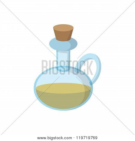 Bottle of olive oil icon, cartoon style