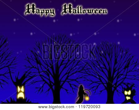 Happy Halloween Card With Dark Forrest