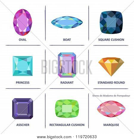 Low Poly Popular Colored Flat Lay Gems Cuts Infographics