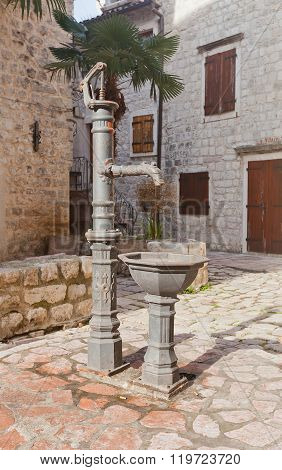 Hand Water-pump In Old Town Of Kotor, Montenegro