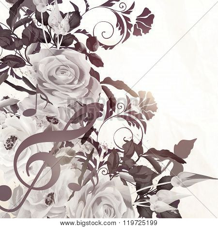 Floral Vector Background With Roses In Vintage Sepia Style