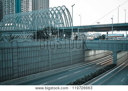 City Building Street Scene And Road,ironbridge,tunnel.