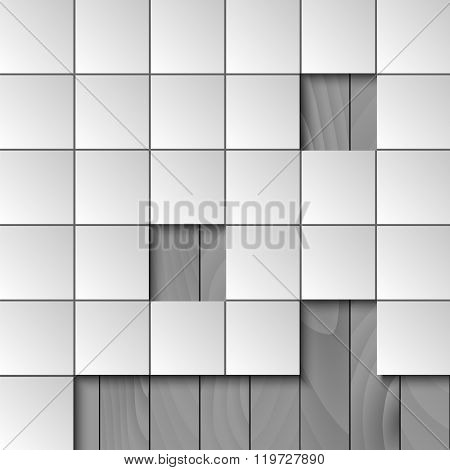 Abstract Background With Squares And Wooden Wall