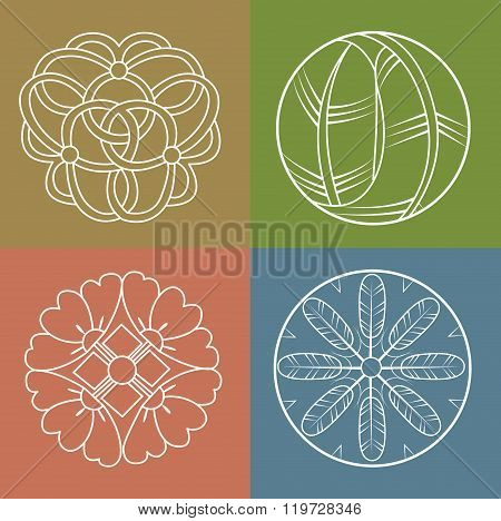 Monograms Vector Set Line Design. Monogram Antique Logo, Elements. Japanese Patterns.