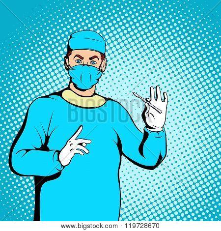 Male surgeon concept, comics style
