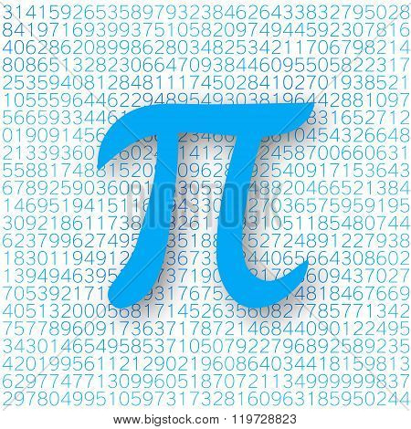 Blue Pi Number With A Shadow On A White Background. Pi Sign,  Mathematical Constant, Irrational Numb