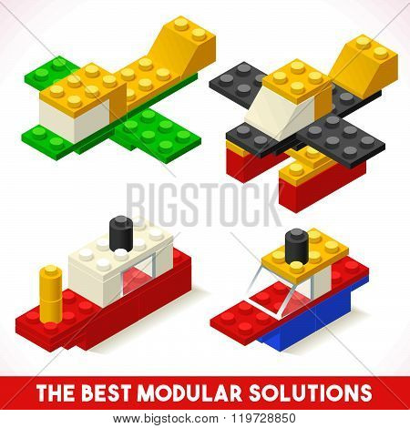 The Best Modular Solutions Isometric Basic Vehicle Ship and Airplane Collection Plastic Toy Blocks and Tiles Set. HD Quality Colorful and Bright Vector Illustration for Web Advertising Template Logo. Icon. JPG. JPEG. Picture. Image. Graphic. Art. Illustra