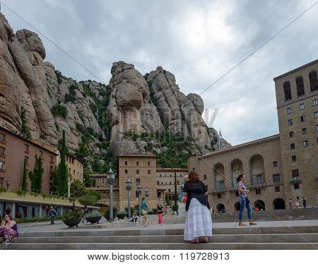 View Of Santa Maria De Montserrat Abbey, Barcelona, Catalonia, Spain.