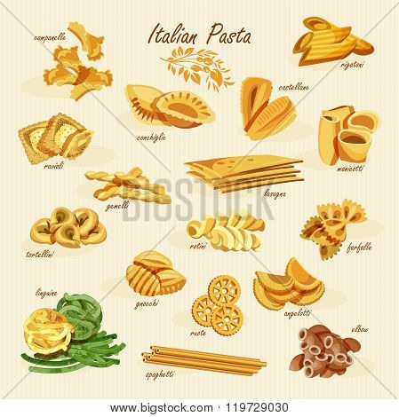 Poster set of pasta with different types of pasta: fusilli, spaghetti, gomiti rigati, farfalle