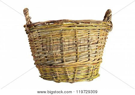 Isolated Traditional Handmade Basket