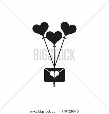 Simple billet-doux with heart flying high on a heart-shaped balloon on white