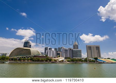 View Of Marina Bay With Blue Sky