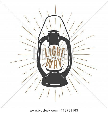 Vintage t-shirt print with oil lamp and quote. Light my way. Vector illustration.
