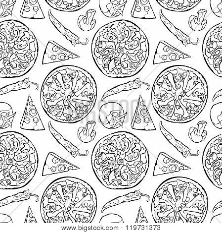 Pizza. Pizza ingredients. Vector seamless pattern (background).