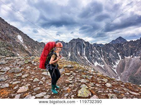 Hiking. Woman On Pass