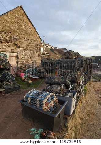 Lobster Pots At Hope Cove, Devon, England