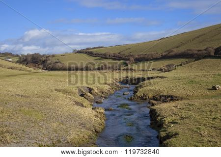 River Leading To Ayrmer Cove, Devon, England