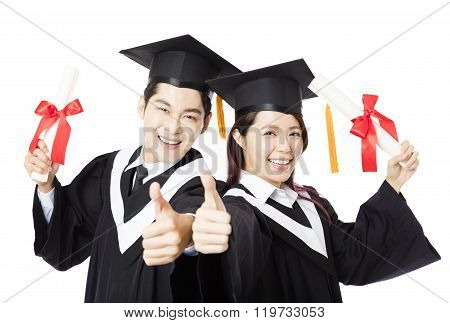 Graduation Man And Woman Education Students With Thumb Up