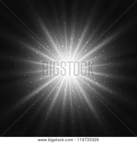 Black and white light sunburst background.