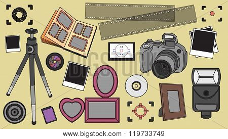 Hand drawn vector illustration set of photography sign
