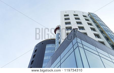 Futuristic Office Building On Sky Background