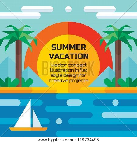 Summer vacation travel - vector concept illustration background in flat style design.