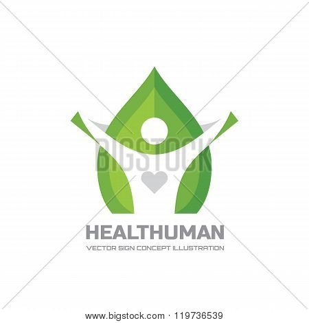 Healt Human - vector logo Concept illustration in flat style design. Human character logo sign.