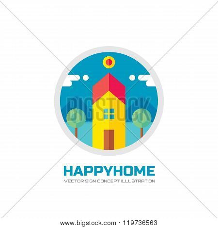 Happy home - vector logo concept illustration in flat style design. House logo sign. Home logo sign.