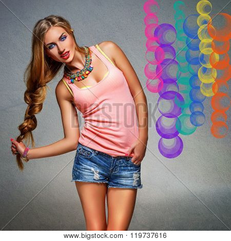 Girl in top and jeans shorts