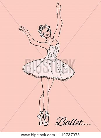 Ballerina in white tutu and pointe shoes on a pink background