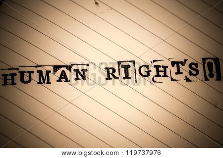 Human Rights Text On Paper