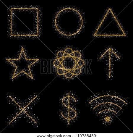 Gold Symbols On Black Background