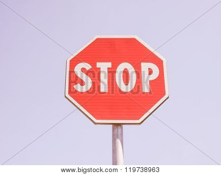Stop Sign Over Blue Sky Vintage