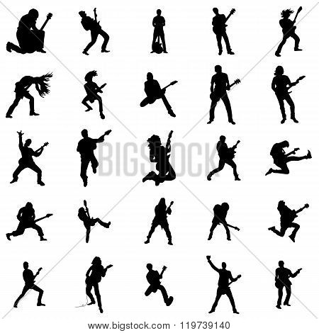 Guitarist silhouette set