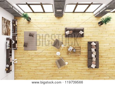 Top View Of Living Room Interior 3D Render