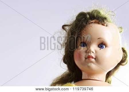 Head Of Beautiful Scary Doll Like From Horror Movie