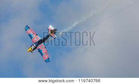 SPIELBERG, AUSTRIA - OCTOBER 26, 2014: Kirby Chambliss (USA) competes in the Red Bull Air Race.