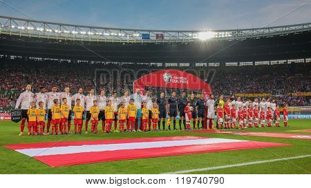 VIENNA, AUSTRIA - OCTOBER 12, 2014: The teams of Austria  and Montenegro pose before the game against Austria in an European Championship qualifying game.