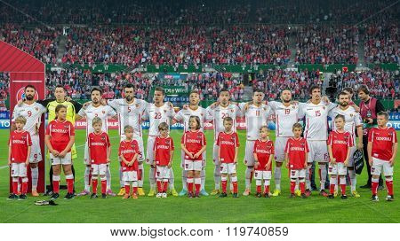 VIENNA, AUSTRIA - OCTOBER 12, 2014: The team of Montenegro poses before the game against Austria in an European Championship qualifying game.